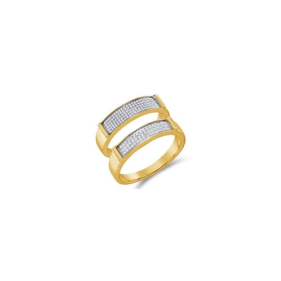 Diamond Wedding Rings Set 10k Yellow Gold Bands Mens & Womens (1/3 CT), Size 8