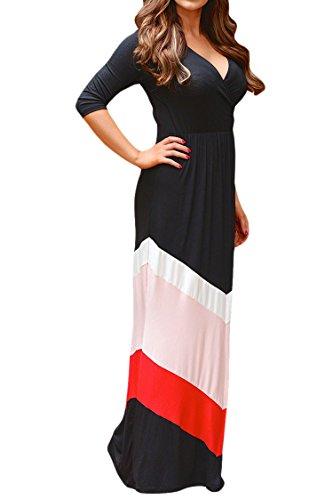 Pink Queen Womens Empire Waist V Neck Chevron Chiffon Maxi Dress Plus Size XXL