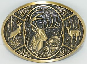 Big Large Antique Bronze Deer Hunting In Woods - 10 Point Buck New Belt Buckle
