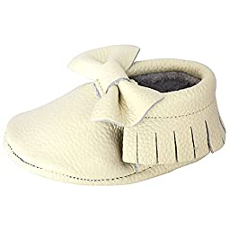 Bow Leather Baby Moccasins for Boy Girl Infant Toddler Pre-walker Crib Shoe (L (5.9 inches), Cream)