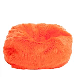 Le Pouf Fur Bean Bag for Children, Neon Orange from Heavy Metal Inc.