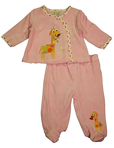 Happi By Dena - Baby Girls 2 Piece Velour Pant Set, Pink 34819-0-3Months
