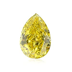2.06Cts Fancy Vivid Yellow Loose Diamond Natural Color Pear Shape GIA Certified