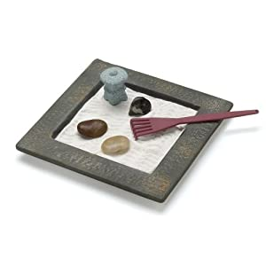 Gifts & Decor Miniature Table Top Zen Rock Garden Mini Tabletop Set