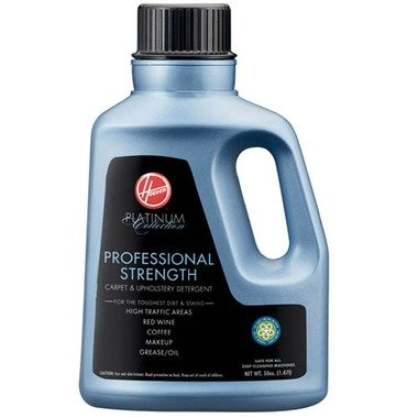 Hoover Platinum Collection Professional-Strength Carpet-and-Upholstery Detergent, 50 Ounces, AH30030 50-ounce container of carpet cleaner works quickly on tough stains like Effectively removes red wine, coffee, grease, cosmetics, and more