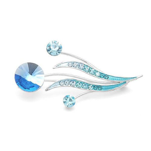 Perfect Gift - High Quality Flower Buds and Leaves Brooch with Blue Swarovski Crystals and Crystal Glass (944) Christmas Gifts Free Standard Shipment Annual Clearance