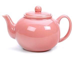 RSVP Stoneware 6-Cup Teapot, Pink