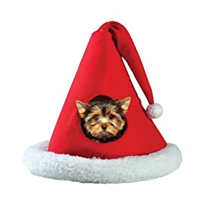 Santa Christmas Holiday Hat Pet Bed House Xmas Gift for Puppy Dog Kitty Cat