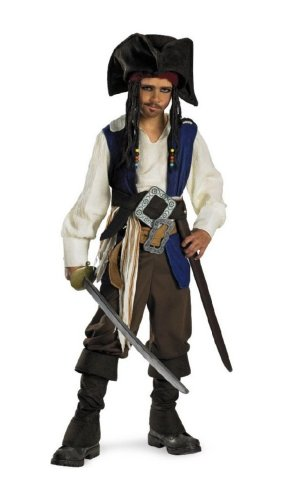 Captain Jack Sparrow Child Costume deluxe - Medium (7-8) (Captain Jack Sparrow Child Deluxe Costume)