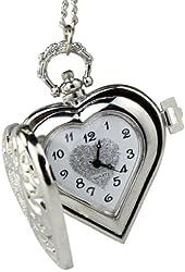 2014 Susenstore Vintage Steampunk Heart Locket Style Pendant Pocket Watch Necklace