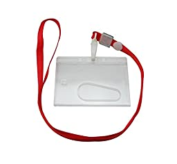 Ailisi Horizontal Card Holder Neck Strap Lanyard Color Red Clip Pack of 10