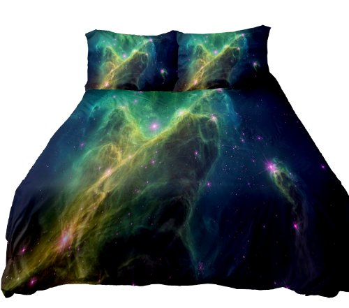 Anlye Galaxy Quilt Cover Galaxy Duvet Cover Galaxy Sheets Space Sheets Outer Space Bedding Set Flat Sheet With 2 Matching Pillow Covers Size Queen front-838394