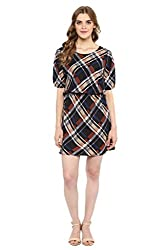 MARTINI Multi Plaids Semi-Formal Knee Length Crepe Beige Blue Dress