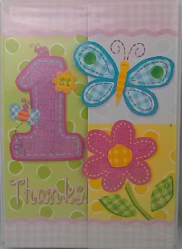 Hugs and Stitches Girl Thank You Notes 8 ct Girl First Birthday Party Supply