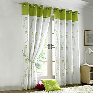 Tahiti lined voile eyelet curtains lime green 56 x 90 - Voile de jardin ikea ...