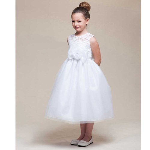 Crayon Kids Girls 2T White Tulle Lace Flower Girl Easter Dress front-694252