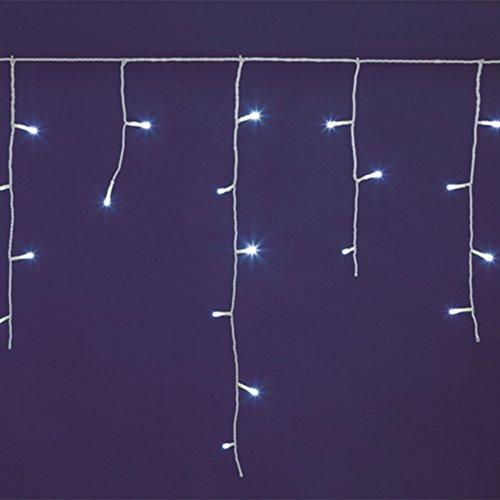 Eiszapfen-Lichterkette 5 x h. 0,6 m, 120 LEDs kaltweiß, weißes Kabel, Memory Controller, Trafo und Zuleitung inkl., innen/außen