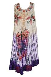 Indiatrendzs Women's Dress Embroidered Butterfly Print Sleeveless Flowy Beige Dresses