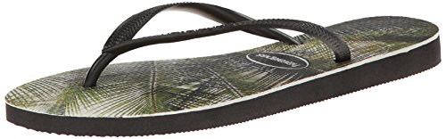 Havaianas Women's Slim Island Palms Sandal, Black, 35 BR/6 M US