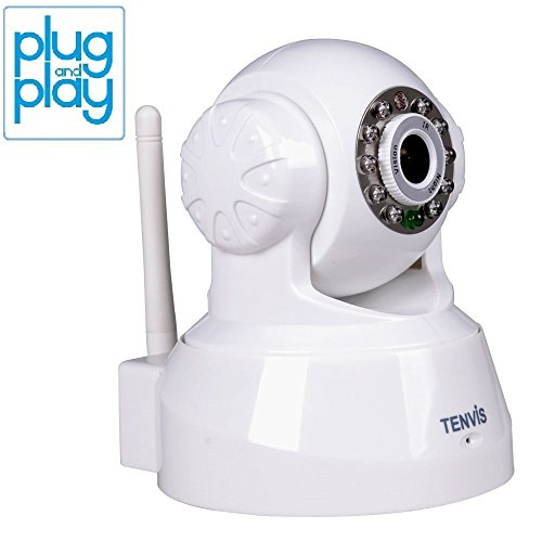 TENVIS JPT3815W Wireless IP/Network Security Surveillance Camera, Remote Video Monitoring, Screen Capture, Pan & Tilt, Plug & Play, with Two-Way Audio and Night Vision, Motion Detection with Instant Alert (White)