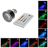E27 4W 200LM RGB Light LED Spot bulb with IR Remote Control (AC100-240V)