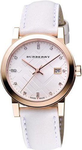 SALE! Authentic Burberry TOP LUXURY DIAMONDS Rose Gold Watch Womens The City Precious White Authentic Leather BU9130
