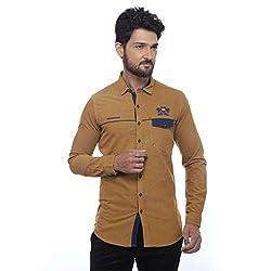 Apris Mens F/slv Corduary Shirt-CAMEL (S-3247) (L)