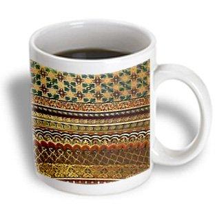Inspirationzstore Patterns - Gold-Look Stripe Pattern With Magen David Stars - Matte Middle Eastern Arabian Moroccan Abstract - 11Oz Mug (Mug_155664_1)