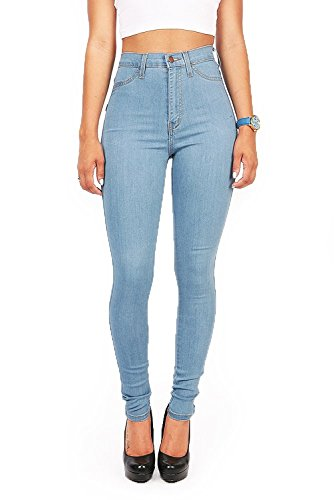 Vibrant Junior's High Waist Skinny Jeans (Light Blue, 11)