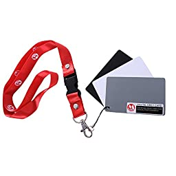 Andoer Micnova 8.5*5.4 3 in 1 Pocket-Size Digital White Black Grey Balance Cards 18% Gray Card with Neck Strap for Digital Photography