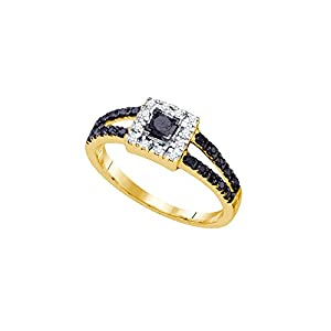 14kt Yellow Gold Womens Princess Black Colored Diamond Halo Bridal Wedding Engagement Ring 1/2 Cttw