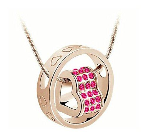 Yparah - Collana Duo anello a forma di cuore, colore: rosa/oro, con cristalli di Swarovski, donna