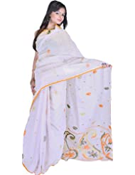 Exotic India Gray Dawn Dhakai Sari From Kolkata With Hand Woven Paisleys - Gray