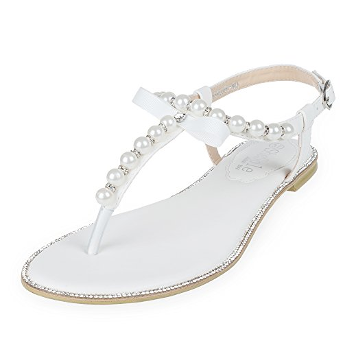 SHOEZY Womens Pu Leather Flat Sandals Wedding Pearls Rhinestone Thong Strap Gladiator Shoes US 9.5