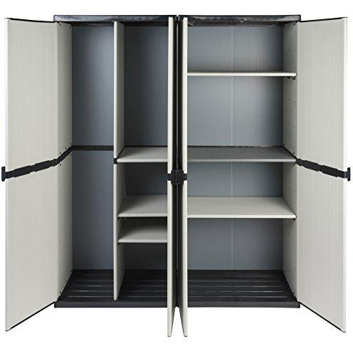 Vorteilspack-2-Schrnke-aus-robustem-Kunststoff-in-hellem-Grau-Ein-Universalschrank-mit-3-Bden-ein-Spindschrank-mit-Besenfach-Jeder-Schrank-mit-Ma-68-x-395-x-168-cm-TOPP