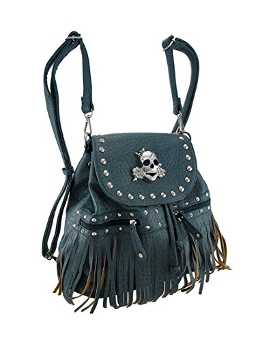 Skull and Roses Studded Textured Leather Look Fringe Backpack Cinch Purse, Dusty Blue
