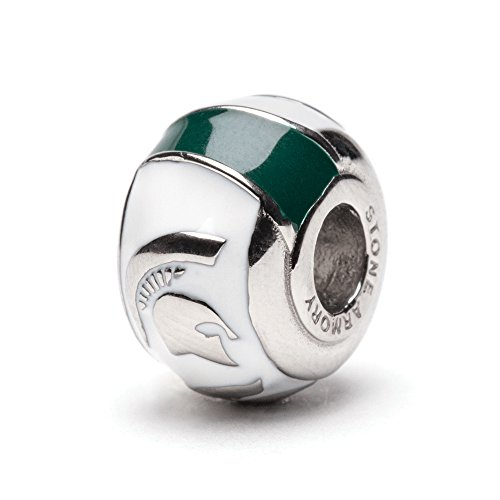 Michigan State 3-D Spartan Bead Charm - White with Green Stripes - Fits Pandora & Others