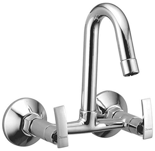Oleanna D-10 Brass Sink Mixer with Wall Flange (Silver)