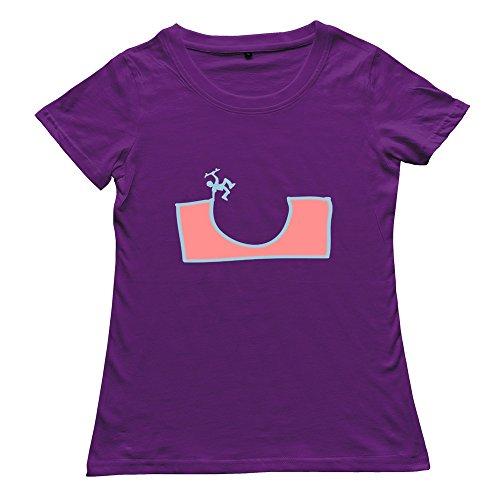 Female Cool Unique Skater Tee-Shirts Size L Color Purple