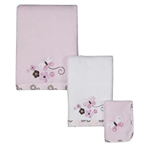 Tiddliwinks Pink Dots Butterfly 5pc Towel Set