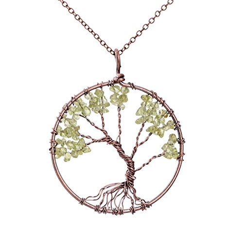 Handmade Tree Of Life Peridot Pendant Wire Wrapped Rustic Talisman Necklace Boho Gemstone Healing Jewelry Mothers Day Gifts
