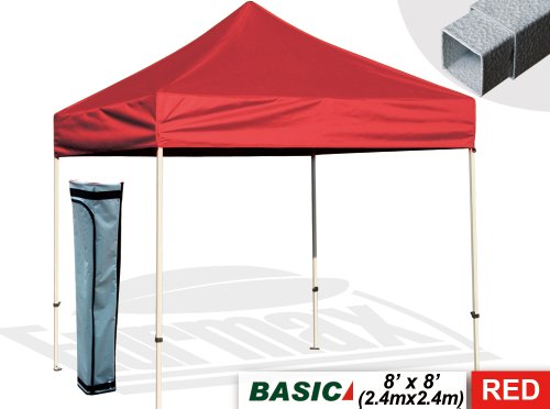 Eurmax 8X8 Pop Up Canopy Tent Outdoor Patio Instant Canopy With Deluxe Carry Bag (Red) front-821036