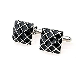 Imported Mens Business Suit Shirt Cufflinks Square Grid Cuff Links Silver Black