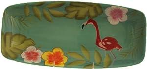 Euro Ceramica Flamingo Rectangular Plate, 14-Inch