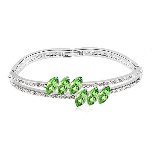 rarelove-peridot-green-row-of-three-leaf-diamond-swarovski-elements-crystal-white-gold-plated-bangle