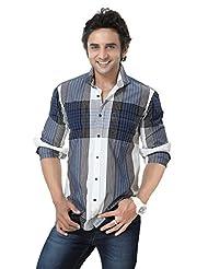 Mens Shirt - Full Sleeves Shirt -Checks Cotton Shirts -Blue Color -By Zorro