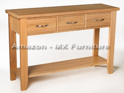 New Solid Oak Console / Hall Table with 3 Drawers