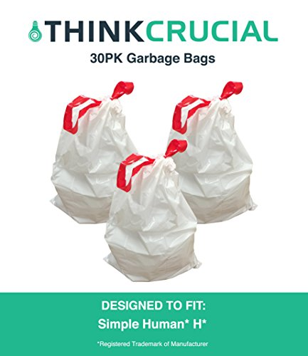 30 Durable Garbage Bags, Fit Simple Human H, 30-35L / 8-9 Gallon, by Think Crucial (35 Liter Bags compare prices)