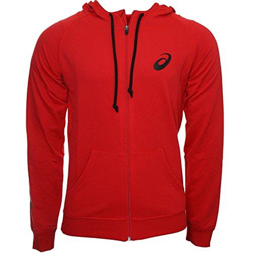 Asics-Felpa con cappuccio e cerniera, Gamma, colore: rosso