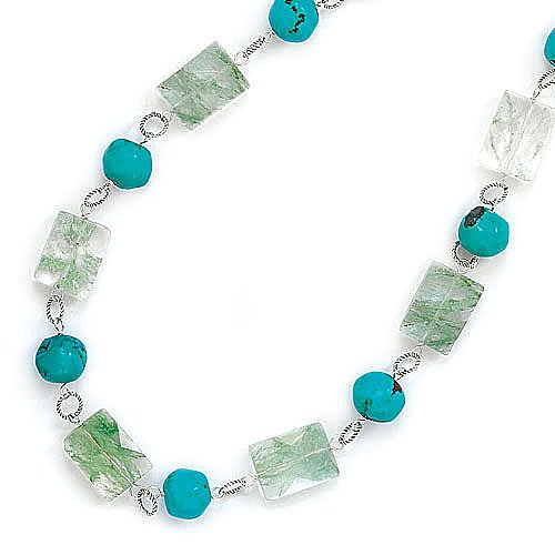 Sterling Silver 16 + 2 Inch Extension Green Quartz and Turquoise Necklace